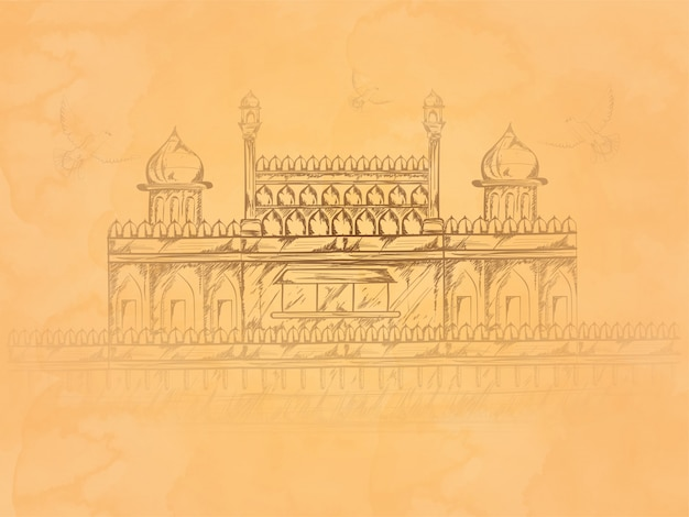 Hand drawn pattern indian monument red fort Premium Vector