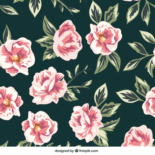 Hand-drawn pattern of flowers in pink\ tones