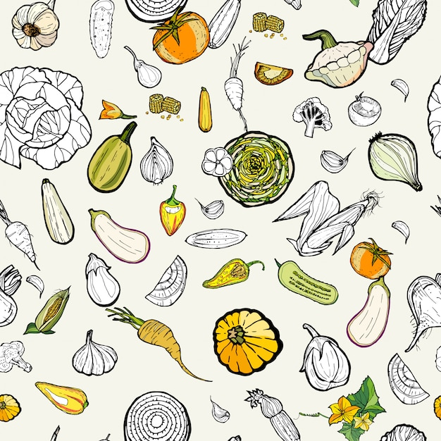 Hand drawn pattern vegetables. Premium Vector