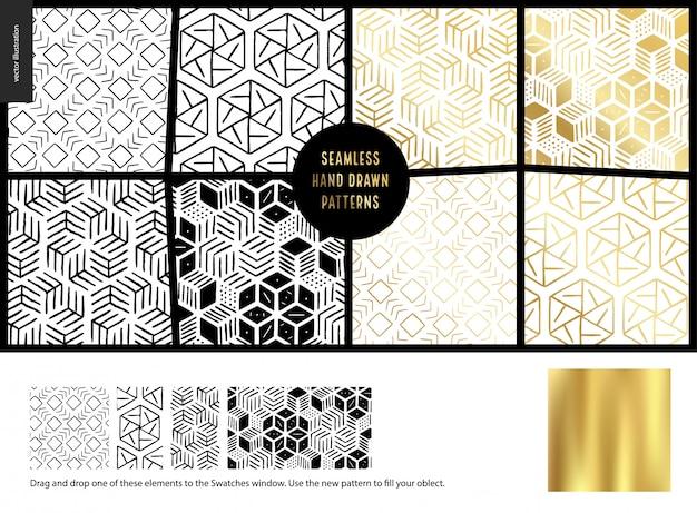 Hand drawn pattern, white Premium Vector