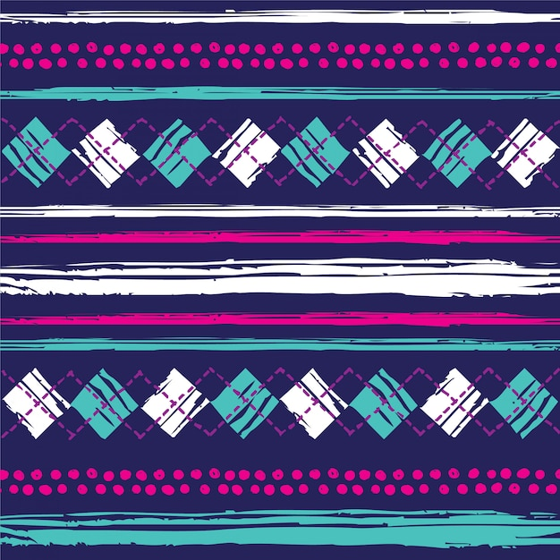 Hand drawn pattern with diamonds and stripes Premium Vector