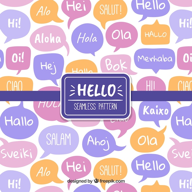 Рисованный рисунок с приветственным словом на разных языках Бесплатные векторы
