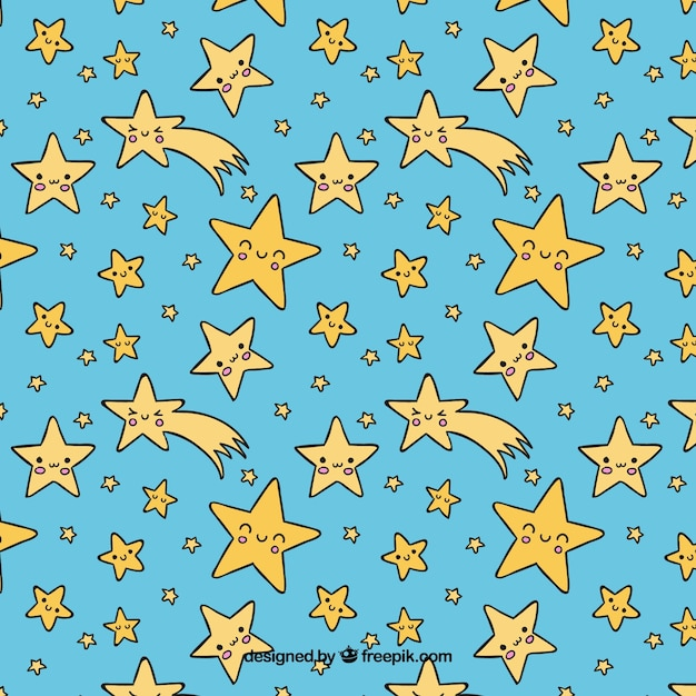 Hand drawn pattern with stars Free Vector