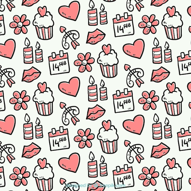 Hand-drawn pattern with valentine's objects Free Vector