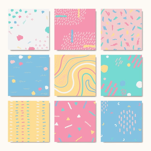 Hand drawn patterned backgrounds Free Vector