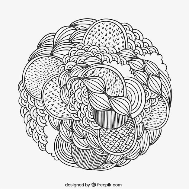 hand drawn patterned circle vector free download