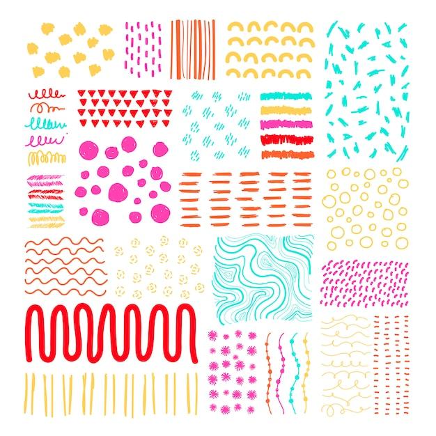 손으로 그린 패턴 디자인 요소 벡터 세트 무료 벡터