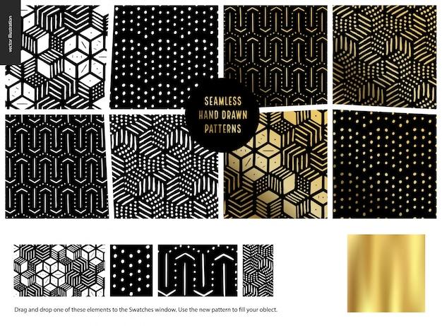 Hand drawn patterns - black Premium Vector
