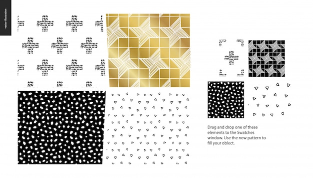 Hand drawn patterns - a group set of abstract seamless patterns Premium Vector