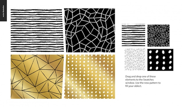 Hand drawn patterns - a group set of four abstract seamless patterns - black, gold and white. geometrical lines, dots and shapes - pieces Premium Vector