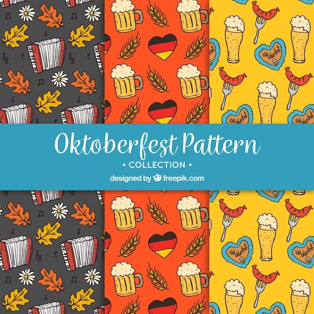 Hand drawn patterns of german celebration