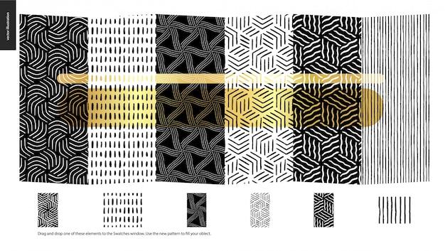 Hand drawn patterns, pieces Premium Vector