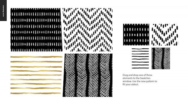 Hand drawn patterns - pieces Premium Vector