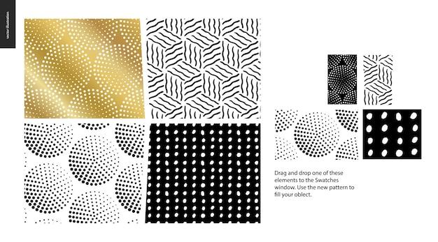 Hand drawn patterns pieces Premium Vector