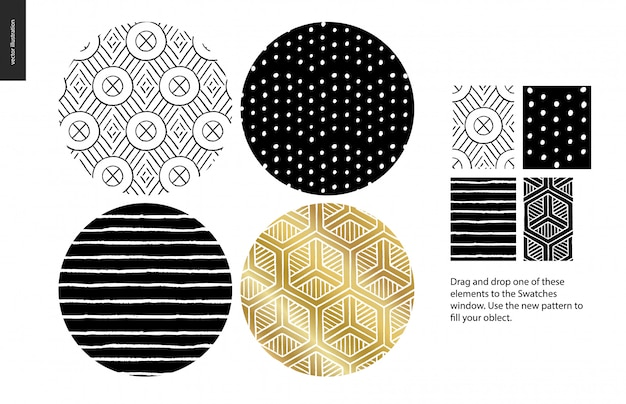 Hand drawn patterns, rounded Premium Vector