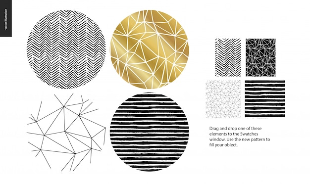 Hand drawn patterns   rounded Premium Vector