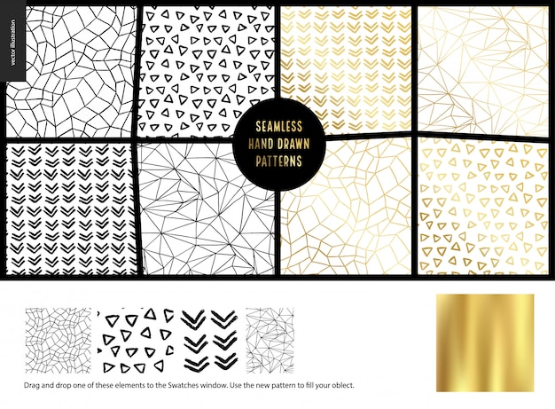 Hand drawn patternswhite Premium Vector