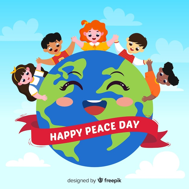 Hand drawn peace day background with children Free Vector