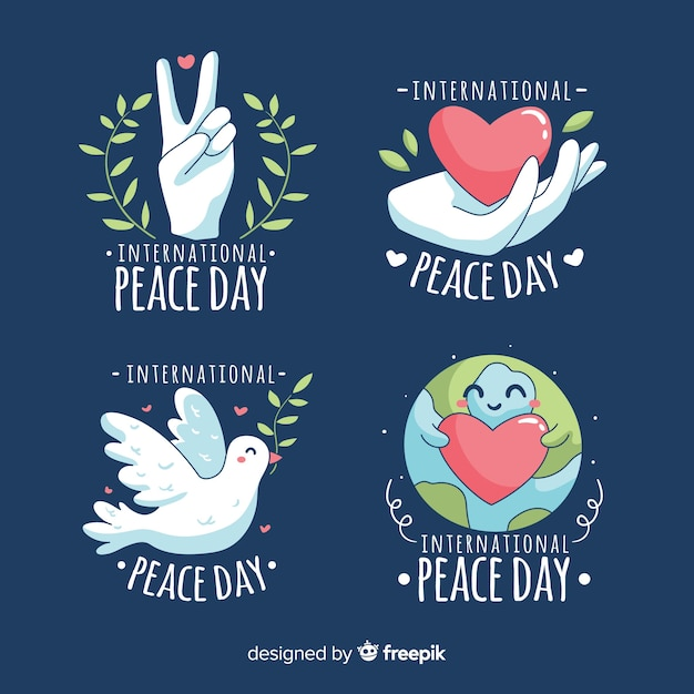 Hand-drawn peace day badge collection Free Vector