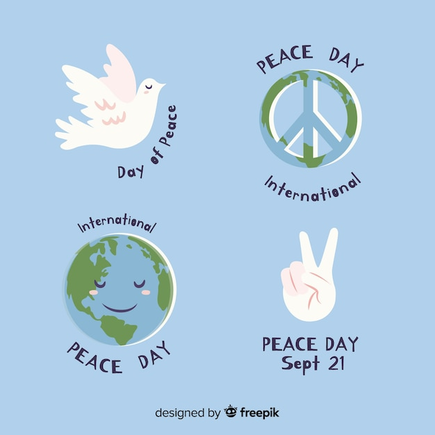 Hand drawn peace day label collection Free Vector
