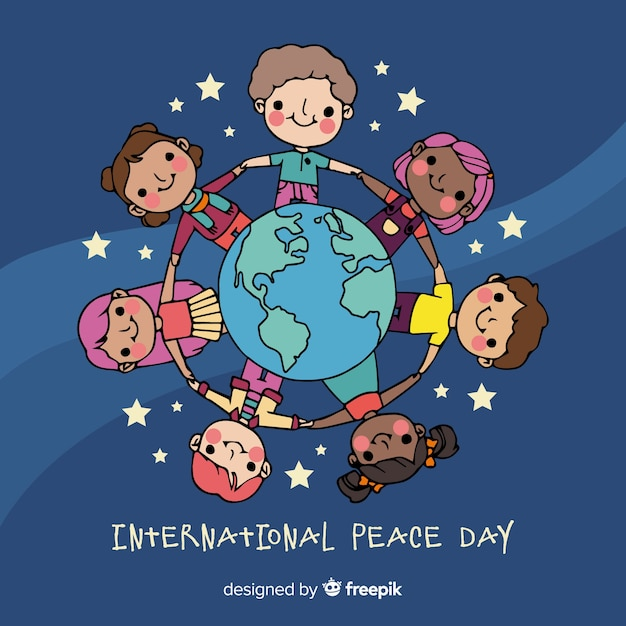 Hand drawn peace day with children Free Vector