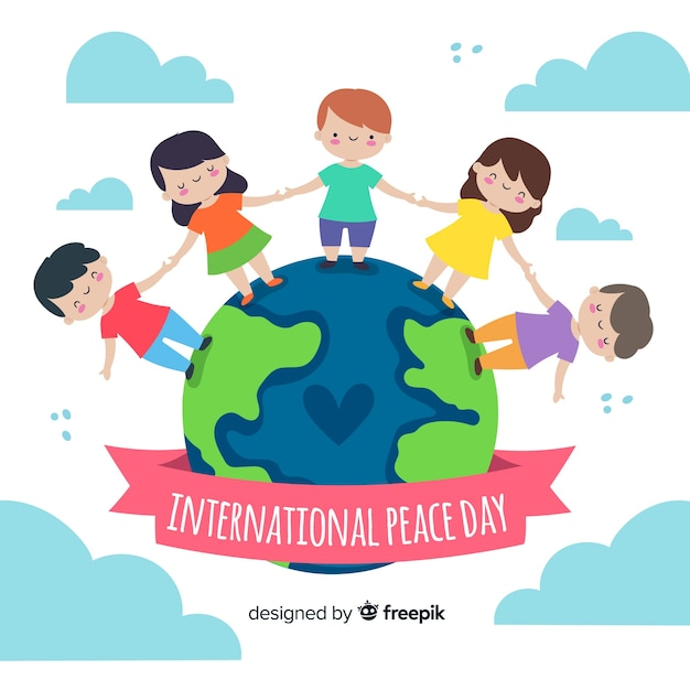Hand drawn peace day with kids holding hands Free Vector