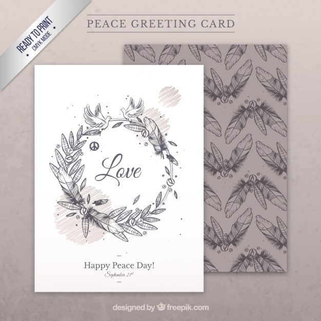 Hand drawn peace greeting card vector premium download hand drawn peace greeting card premium vector m4hsunfo