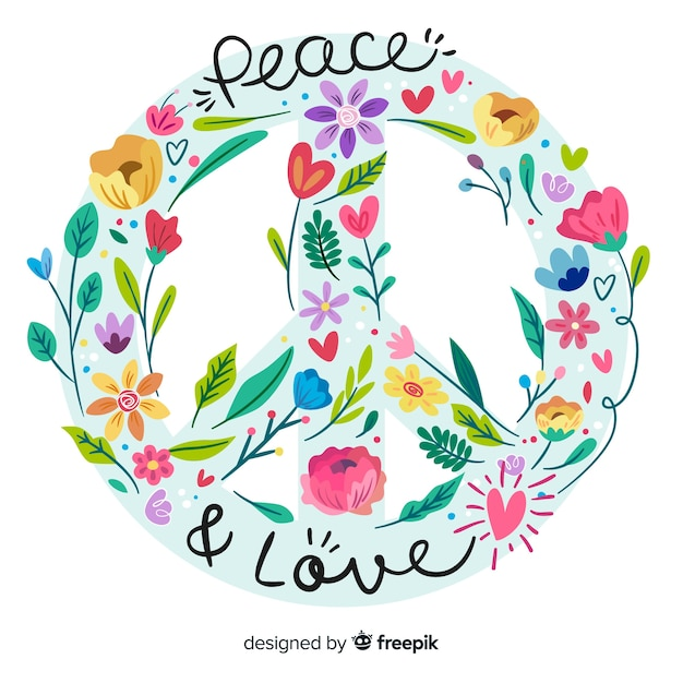 Hand drawn peace sign background Free Vector