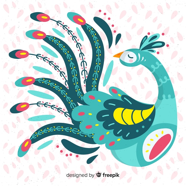 Hand drawn peacock Free Vector