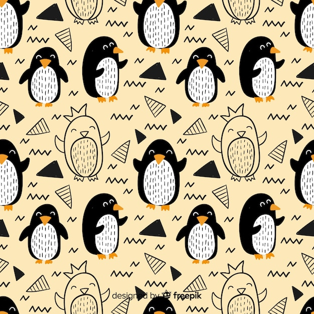 Hand drawn penguin doodle pattern Free Vector