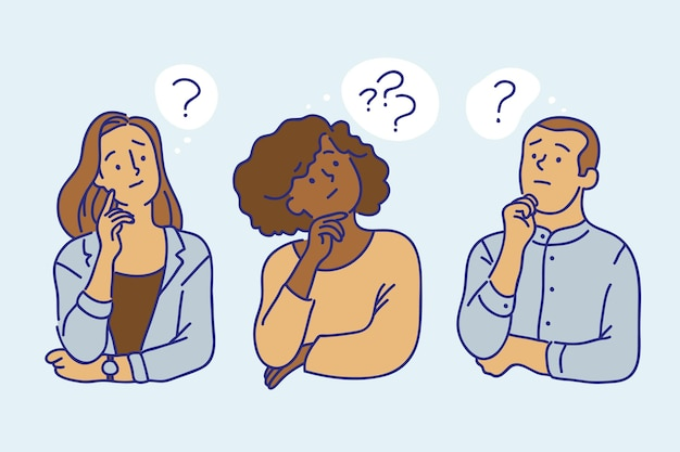 Hand drawn people asking questions illustration Free Vector