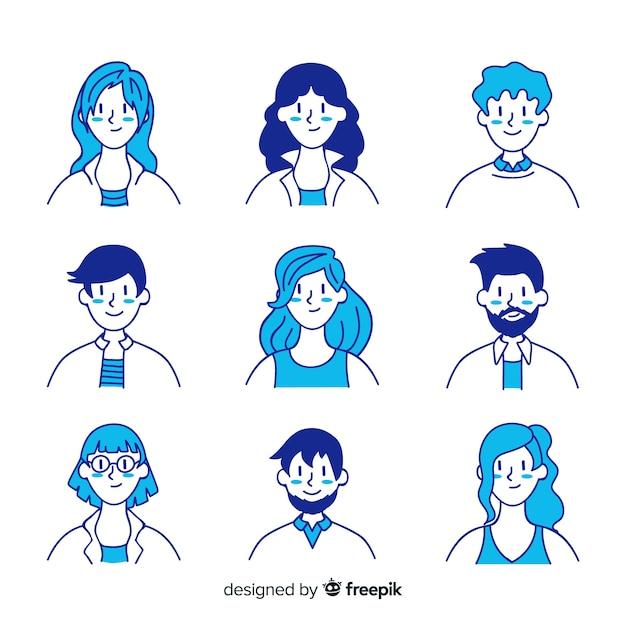 Коллекция рисованной людей аватара Premium векторы