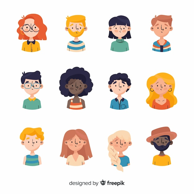 Hand drawn people avatar collection Free Vector