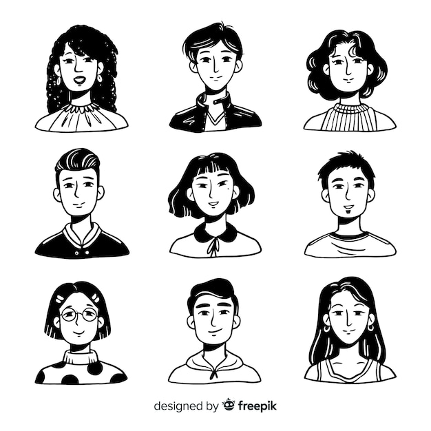 Hand drawn people avatar pack Free Vector