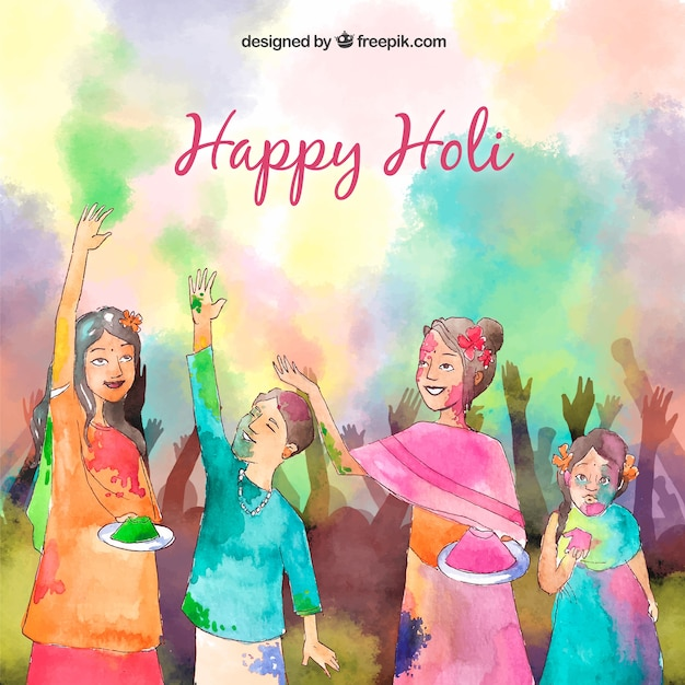 Hand drawn people celebrating holi\ festival