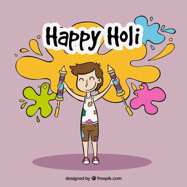 Hand drawn people celebrating holi\ festival