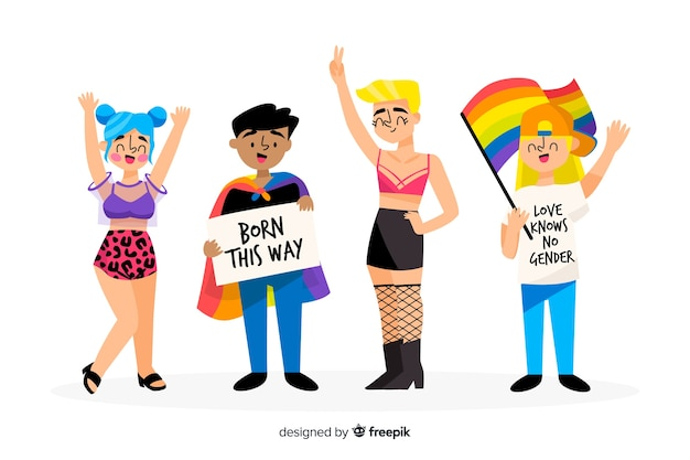 Hand drawn people celebrating pride day Free Vector