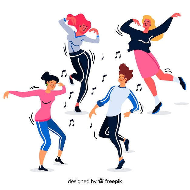 Hand drawn people dancing background Free Vector