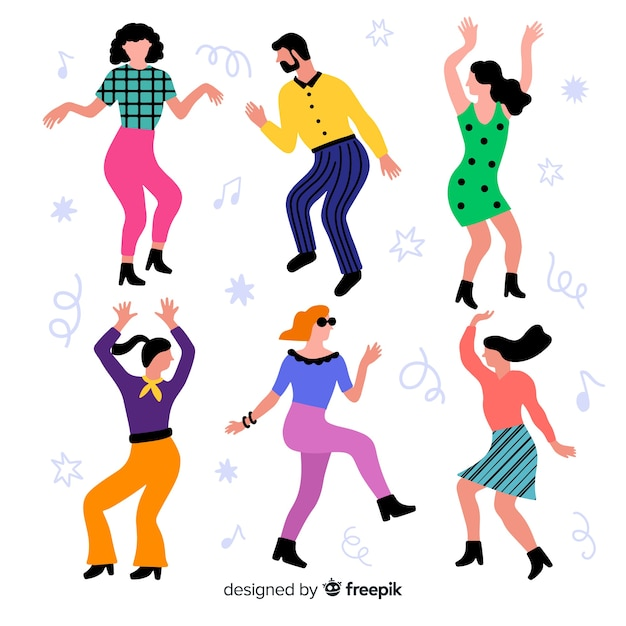 Hand drawn people dancing collection Free Vector