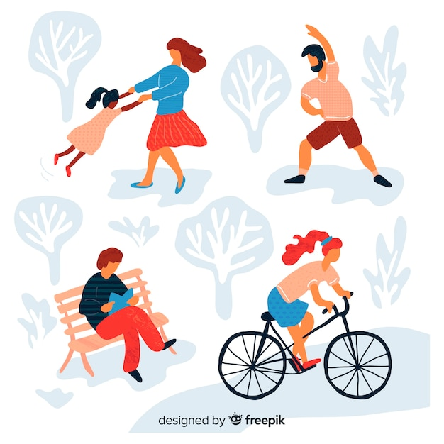 Hand drawn people doing activities in the park Free Vector