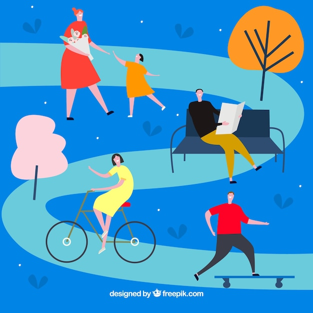 Hand drawn people doing outdoor activities Free Vector