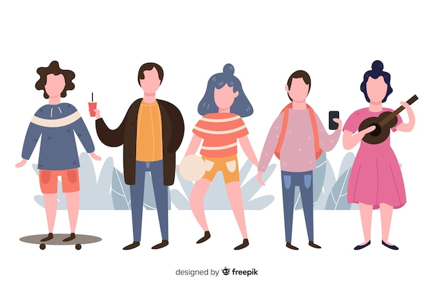 Hand drawn people doing outdoors activities pack Free Vector