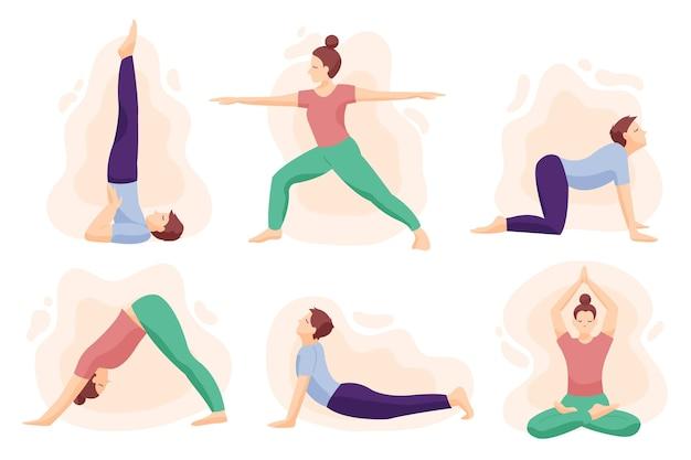 Рисованной люди делают йоги Premium векторы