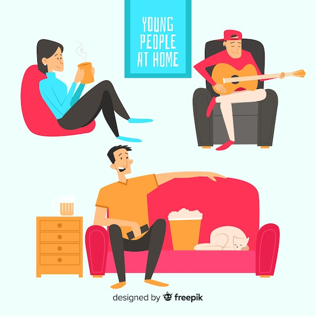 Hand drawn people at home collection Free Vector