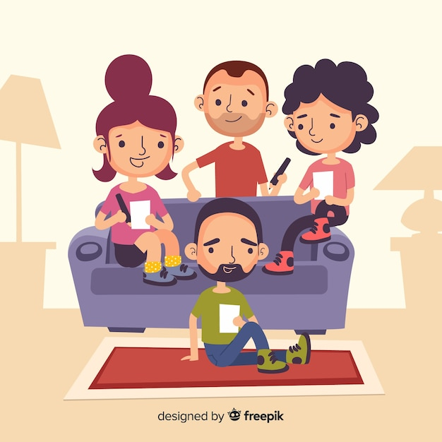 Hand drawn people at home illustration Free Vector