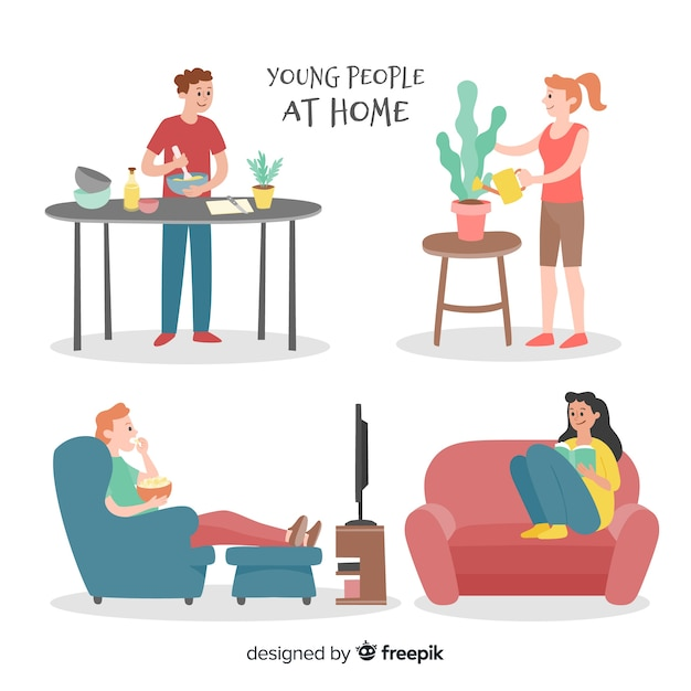 Hand drawn people at home pack Free Vector