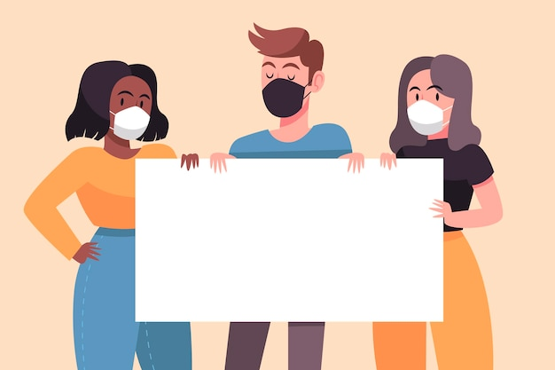 Рисованные люди в медицинских масках с плакатами Бесплатные векторы