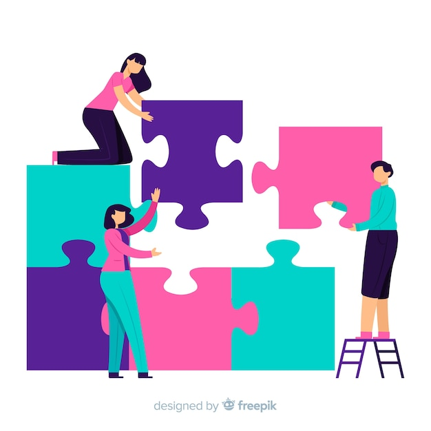 Hand drawn people making a puzzle background Free Vector