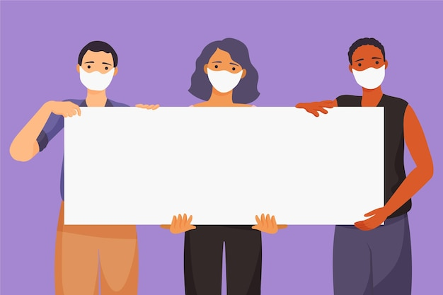 Hand drawn people in medical masks with placards Free Vector