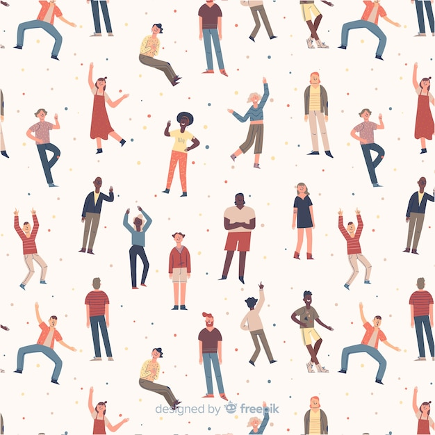 Hand drawn people moving background Free Vector